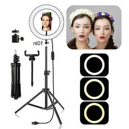 "10"" LED Ring Light w/Stand & Mount Kit for Camera Phone Self"