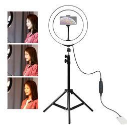 "10"" LED Ring Light w/Tripod Stand for Camera Phone Selfie Li"