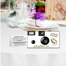 10 Pack PERSONALIZED Gold Rings Disposable Cameras, wedding