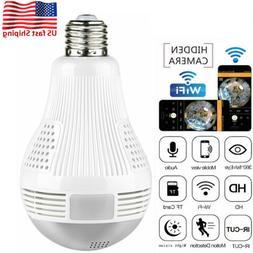 1080P 360° Panoramic Fisheye Bulb Light WiFi Wireless IP Hi
