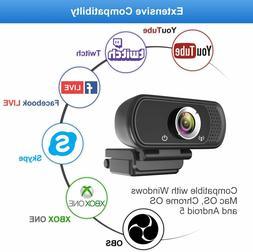 1080P Webcam, Built-in Microphones, Full HD Video Camera for