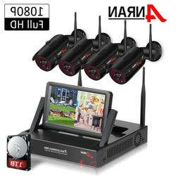 "1080P Wireless Home Security Camera System with 7""LCD Monito"