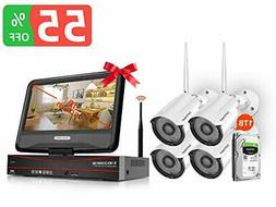 1080P Security Camera System Wireless with Monitor and 1TB