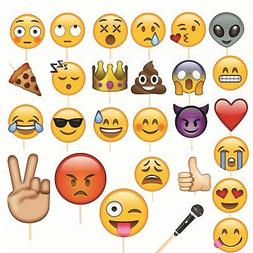 27pcs Emoji Faces Photo Booth Props Funny Mask for Wedding B