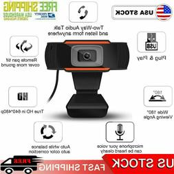 Webcam 480P Full HD Auto Focus Web Camera Microphone USB Com