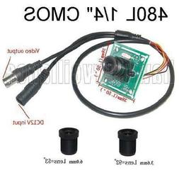 "480TVL CCTV Color Camera Board 1/4"" Inch CMOS + 3.6mm & 6.0m"
