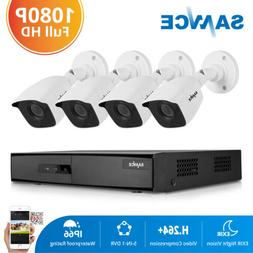 SANNCE 4CH DVR 1080P Video CCTV Outdoor Security IR Camera S