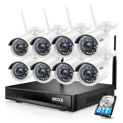 ZOSI H.265+ 8CH 1080P Wireless Security Camera System WIFI N