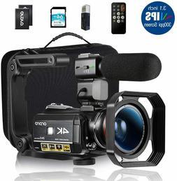 4K Camcorder Bundle HD Digital Video Camera Microphone 1080P