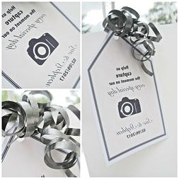 5 x Personalised wedding favour tags for disposable camera c