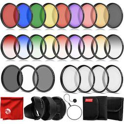 Opteka 58mm 9 Piece HD Graduated & Solid Color Filter Set fo