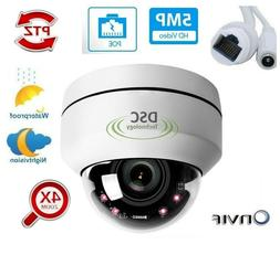 POE PTZ IP Security Camera 5MP Super HD 2592x1944p 4X Optica