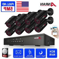 ANRAN Home Security Camera System Outdoor 5MP 8CH 1/2TB Hard
