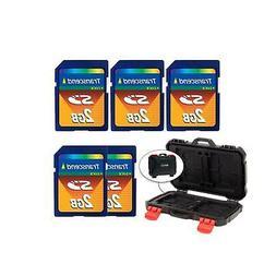5x Transcend 2GB SD Memory Card + Vivitar Card Hardcase - 24