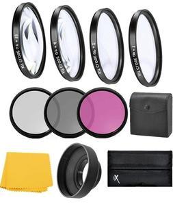 62mm Close up & Filter Kit For Pentax KP K-70 DSLR Camera wi