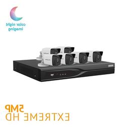 8 Channel DVR Security System w/ 6 HD 5MP Starlight Color