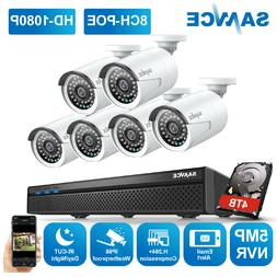 SANNCE 8CH 5MP POE NVR Home 6pcs 1080P HD Security IP Camera