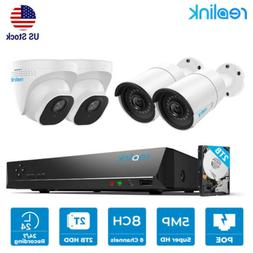 8CH 5MP POE Security Camera System NVR CCTV Outdoor Video Re