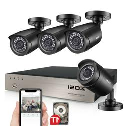 ZOSI H.265+ 8 Channel 5MP Lite DVR 1TB HDD 1080P Outdoor Sec