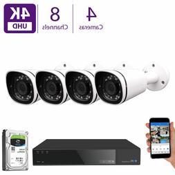 8CH NVR Security Camera System w/ 4 x 4K 3X Optical Zoom Mic