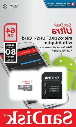 SanDisk Ultra MicroSD 64GB SDHC Class 10 Memory Card Camera
