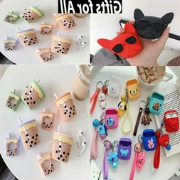 For Apple Airpods 1&2 Hooks Cute 3D Cartoon Earbuds Silicone