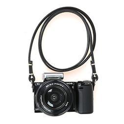 CANPIS Black Leather Camera Neck Shoulder Strap for Nikon Ca