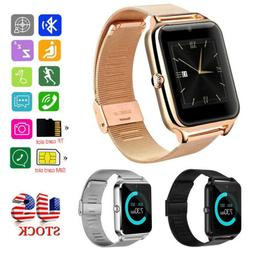 Bluetooth SmartWatch Phone Camera Sleep Monitor Stainless St