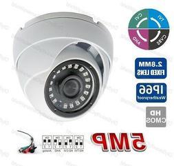 BNC 5MP 2.8MM CCTV AHD TVI CVI Hybrid Security Dome Camera W