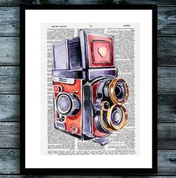 Camera Dictionary Print Poster Watercolor Photography Modern
