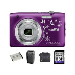 Nikon Coolpix A100 20.1MP Camera - Decorative Purple + 2 Bat