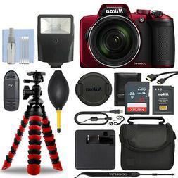 Nikon Coolpix B600 16MP Digital Camera Red + 32GB Deluxe Acc