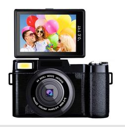 "Digital Camera Vlogging 24MP YouTube Cam 3"" LCD Flip Screen"