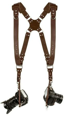 Coiro Dual Leather Camera Harness Padded Shoulder Adjustable