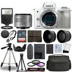 Canon EOS M50 Camera Body White + 3 Lens Kit 15-45mm IS STM+