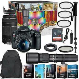 Canon EOS Rebel T7 DSLR Camera with  Lenses + Deluxe Profess