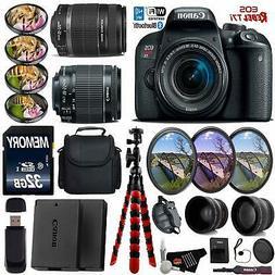 Canon EOS Rebel T7i DSLR Camera + 18-55mm Lens & 55-250mm Le