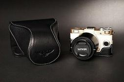 Genuine real Leather Full Camera Case bag for Pentax QS1 8.5