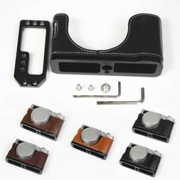 Genuine Real Leather Half Camera Case Grip L Bracket for FUJ