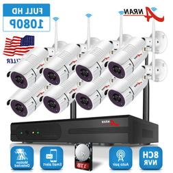 Home Security Camera System Wireless 1080P Outdoor 8CH NVR I