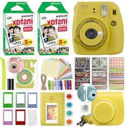Fujifilm Instax Mini 9 Instant Film Camera Clear Yellow + 40
