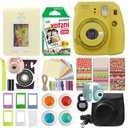 Fujifilm Instax Mini 9 Instant Film Camera Clear Yellow + 20