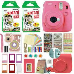 Fujifilm Instax Mini 9 Instant Film Camera Flamingo Pink + 4