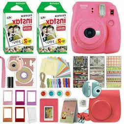 Fujifilm Instax Mini 9 Instant Film Camera Flamingo Pink + 4