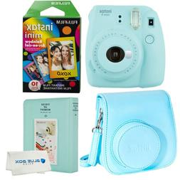 Fujifilm Instax Mini 9 Polaroid Ice Blue Instant Camera, cas