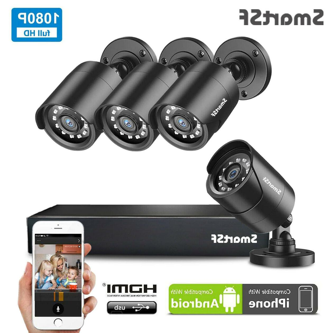 SmartSF 4CH 1080P DVR Outdoor Home 720P Security Camera Syst
