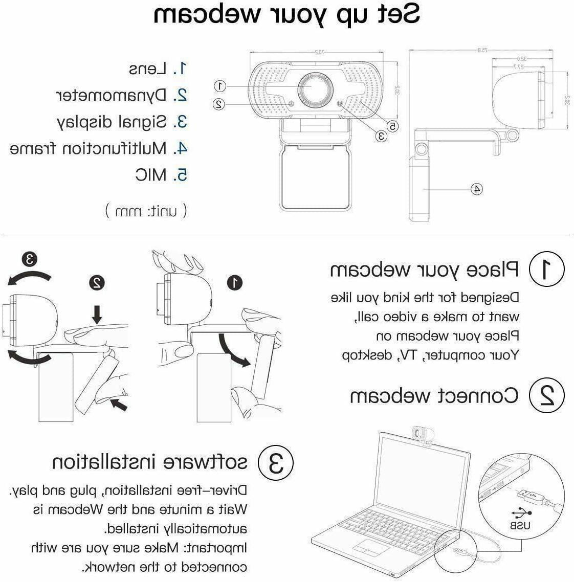HD 1080P Webcam Microphone PC/Mac Laptop/Desktop