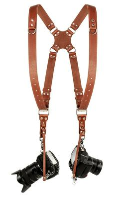 Coiro Leather Dual Harness Shoulder Strap Two Camera Adjusta