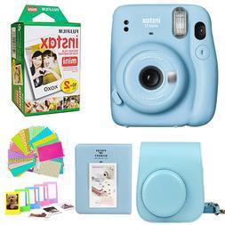 Fujifilm Mini 11 Instant Camera Sky Blue + 20 Film Case, Alb