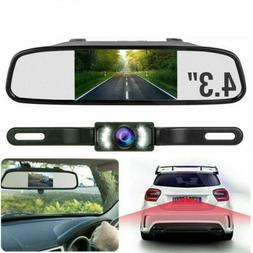 "4.3"" Backup Camera Mirror Parking System Kit Car Rear View R"